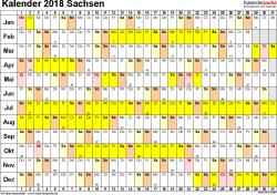 Vorlage 2: Kalender Sachsen 2018 im Querformat, Tage nebeneinander