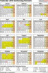 Vorlage 4: Kalender Schleswig-Holstein 2018 als Excel-Vorlage (Hochformat)