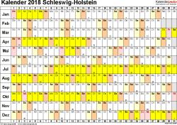 Vorlage 2: Kalender Schleswig-Holstein 2018 im Querformat, Tage nebeneinander