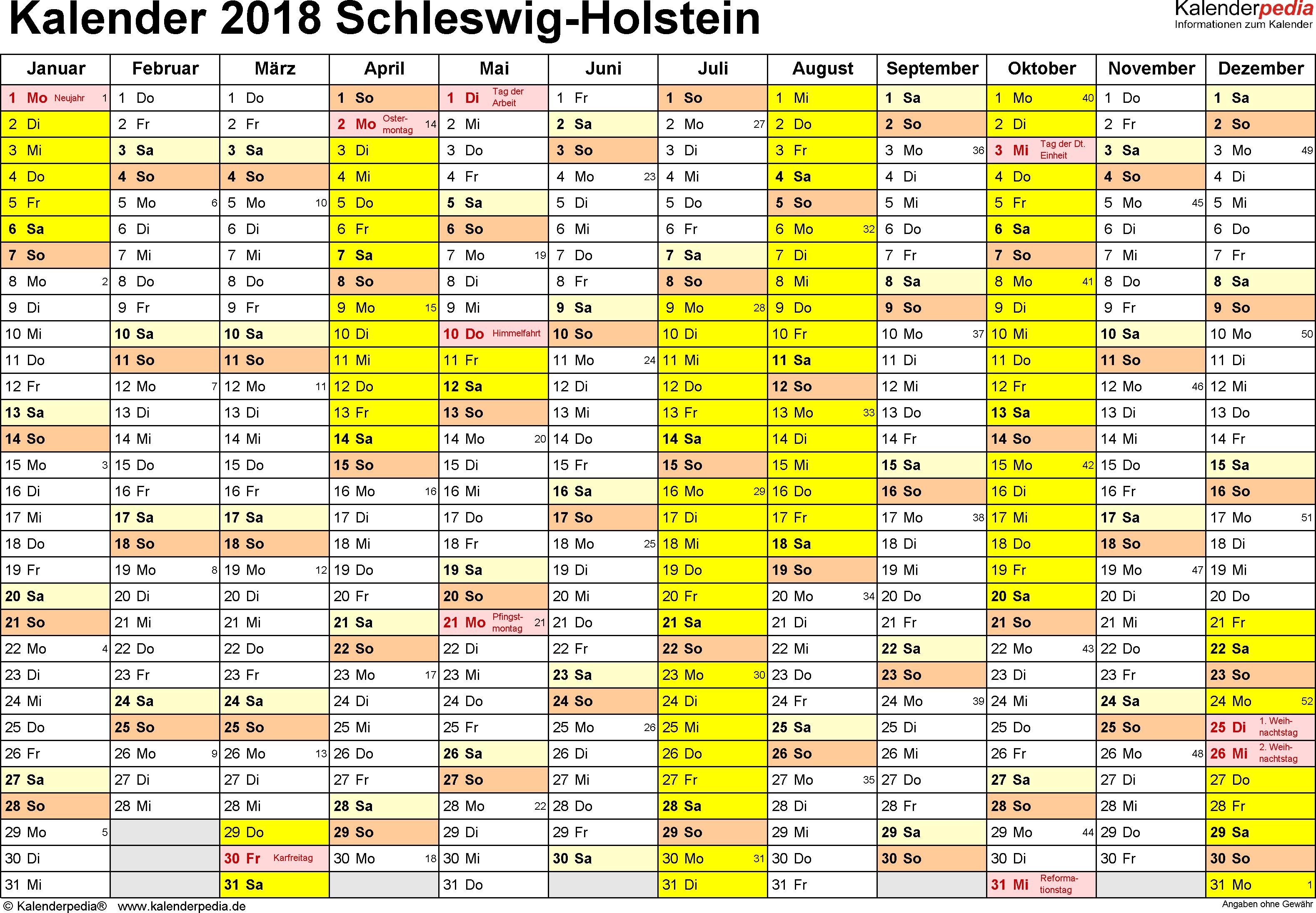 Vorlage 1: Kalender 2018 für Schleswig-Holstein als Excel-Vorlage (Querformat, 1 Seite)
