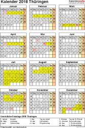Vorlage 4: Kalender Thüringen 2018 als Excel-Vorlage (Hochformat)