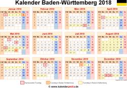 Kalender 2018 Baden-Württemberg