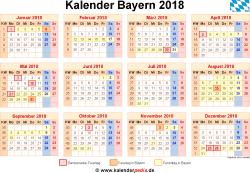 Kalender 2018 Bayern