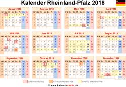 Kalender 2018 Rheinland-Pfalz
