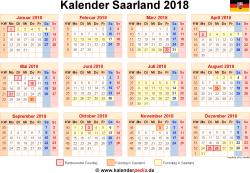 Kalender 2018 Saarland