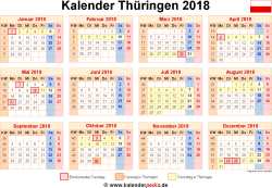 kalender 2018 th ringen ferien feiertage excel vorlagen. Black Bedroom Furniture Sets. Home Design Ideas