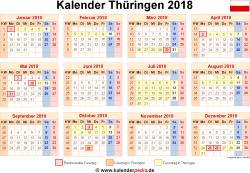 Kalender 2018 Thüringen