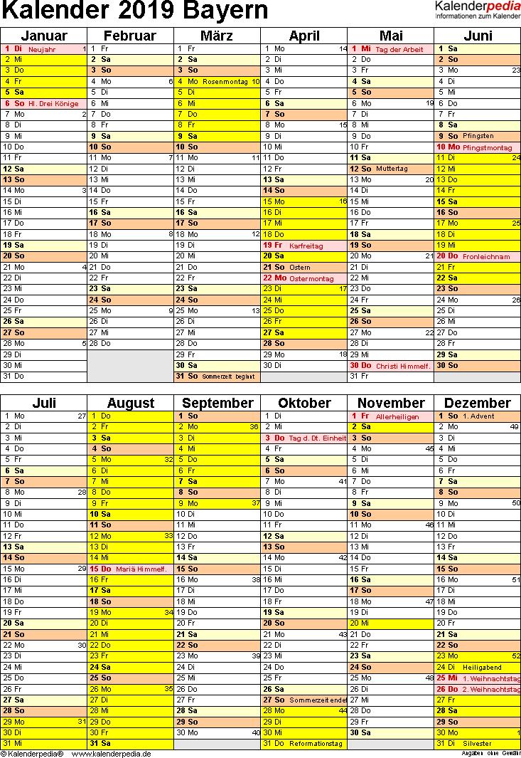 Vorlage 5: Kalender Bayern 2019 als Word-Vorlage (Hochformat)