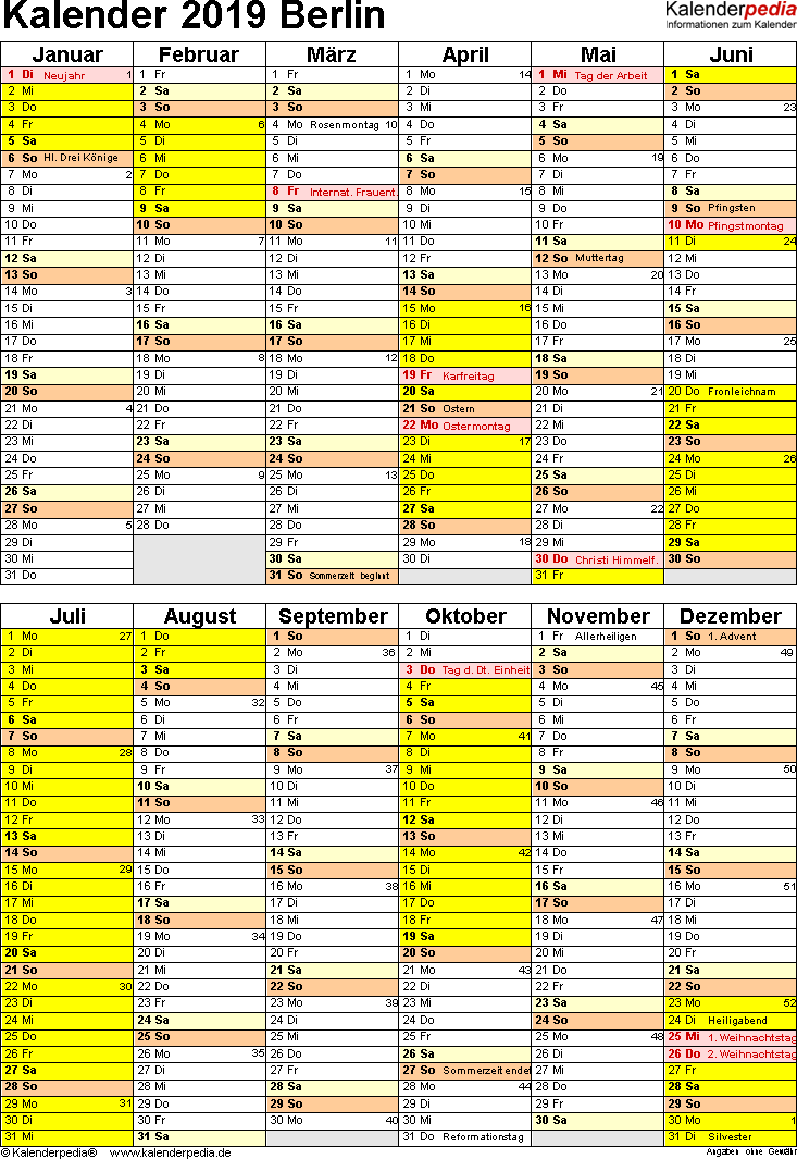 Vorlage 5: Kalender Berlin 2019 als Excel-Vorlage (Hochformat)