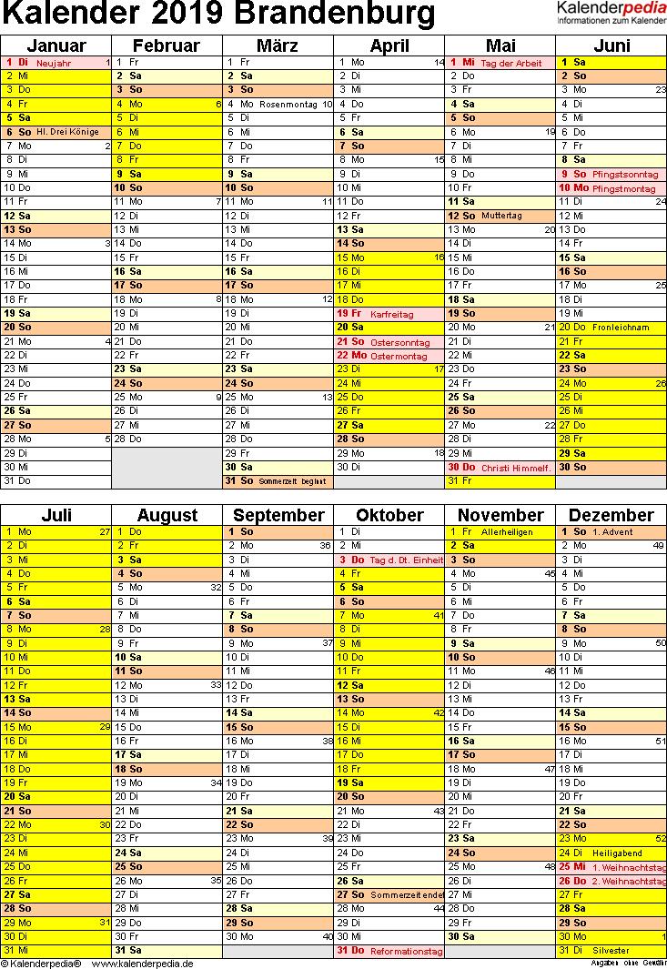 Vorlage 5: Kalender Brandenburg 2019 als Excel-Vorlage (Hochformat)