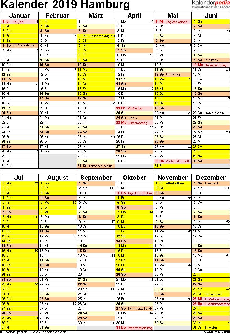 Vorlage 5: Kalender Hamburg 2019 als Excel-Vorlage (Hochformat)
