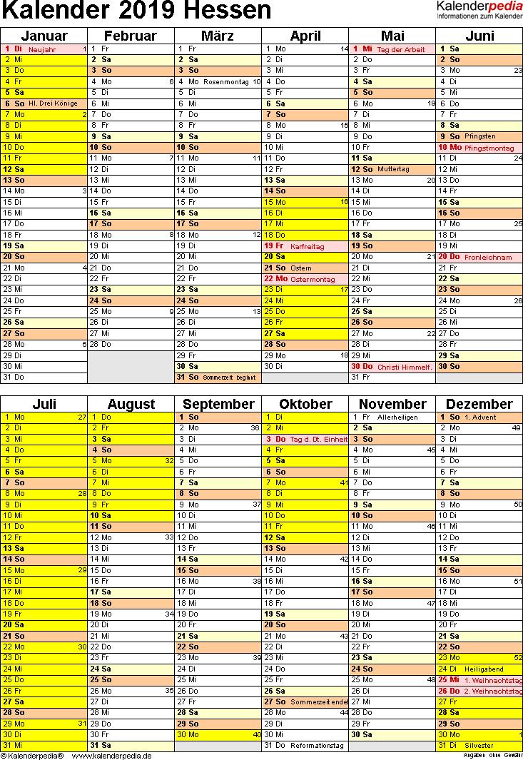 Vorlage 5: Kalender Hessen 2019 als PDF-Vorlage (Hochformat)