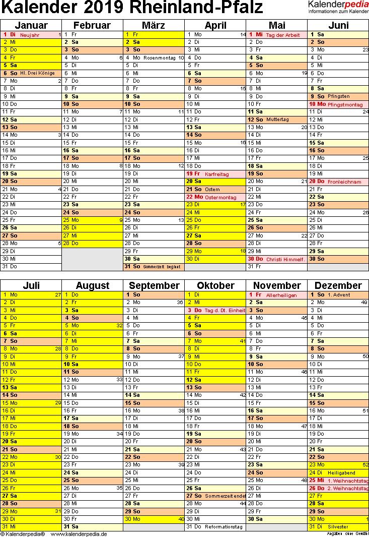 Vorlage 5: Kalender Rheinland-Pfalz 2019 als PDF-Vorlage (Hochformat)