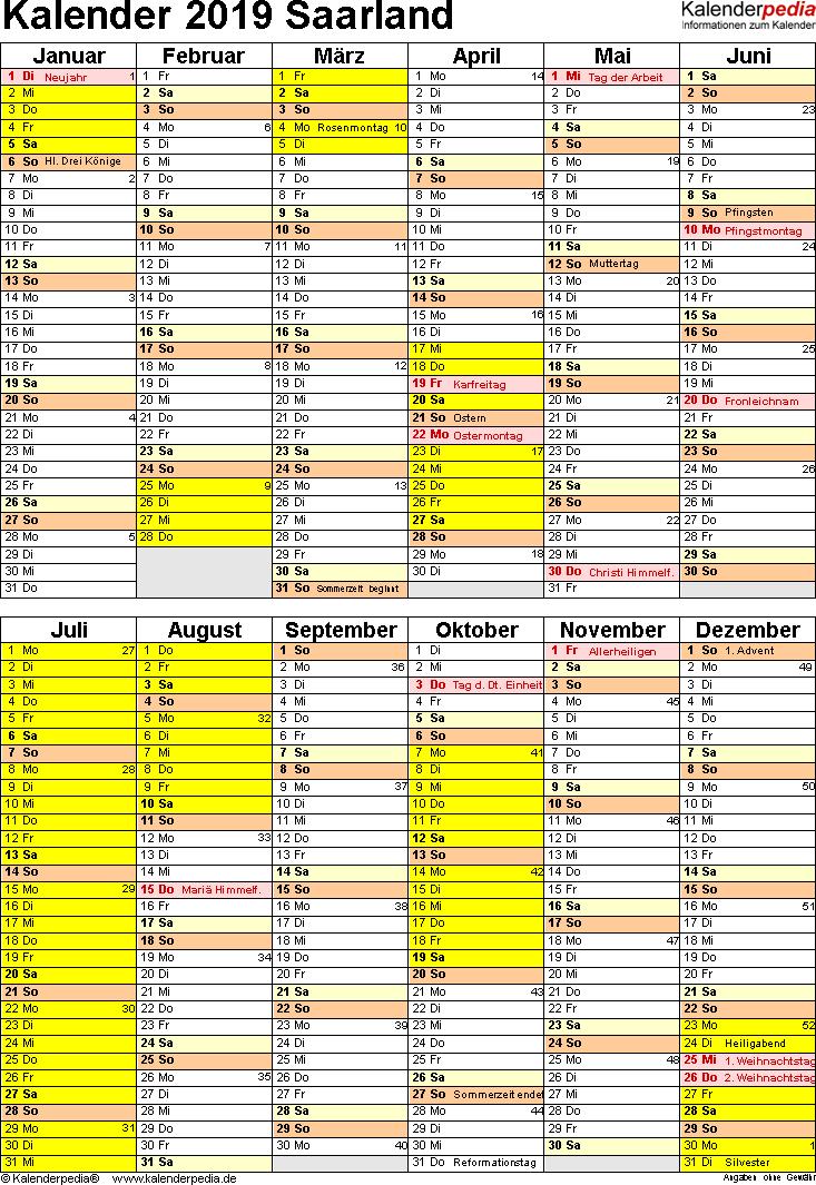 Vorlage 5: Kalender Saarland 2019 als Excel-Vorlage (Hochformat)