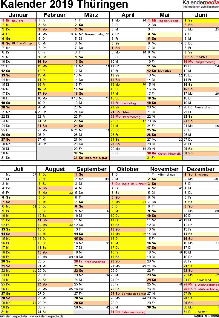 Vorlage 5: Kalender Thüringen 2019 als Excel-Vorlage (Hochformat)