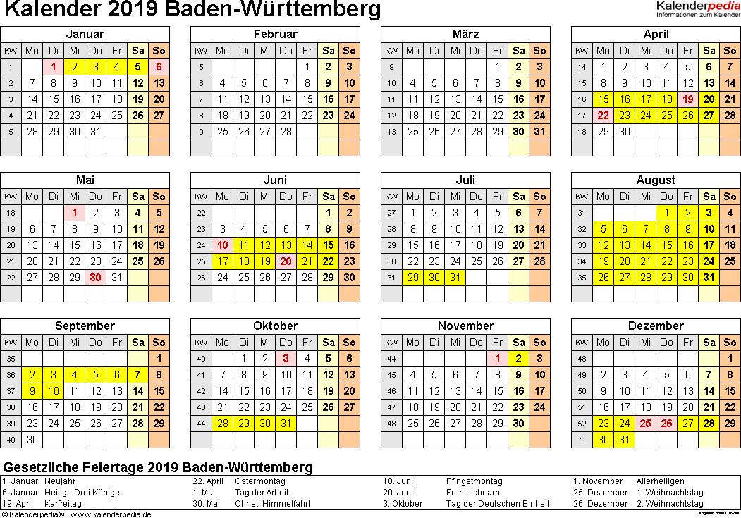 Vorlage 4: Kalender 2019 für Baden-Württemberg als Excel-Vorlage (Querformat, 1 Seite, Jahresübersicht)