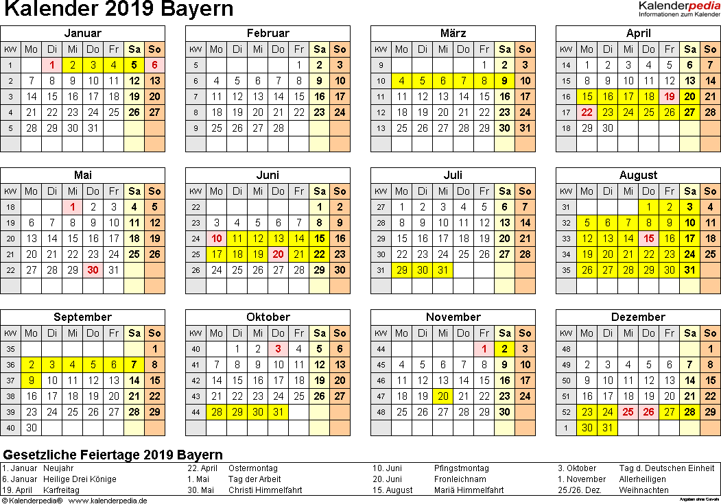 Vorlage 4: Kalender 2019 für Bayern als PDF-Vorlagen (Querformat, 1 Seite, Jahresübersicht)
