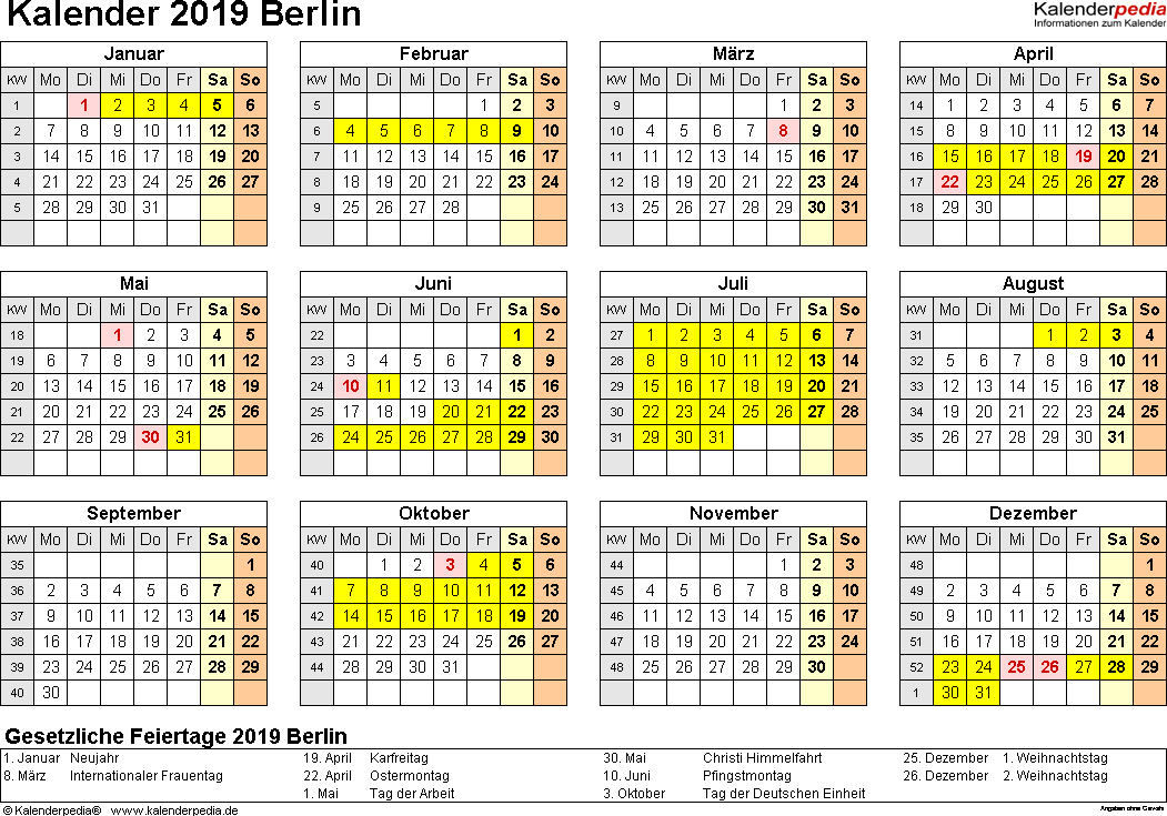 Vorlage 4: Kalender 2019 für Berlin als Excel-Vorlage (Querformat, 1 Seite, Jahresübersicht)