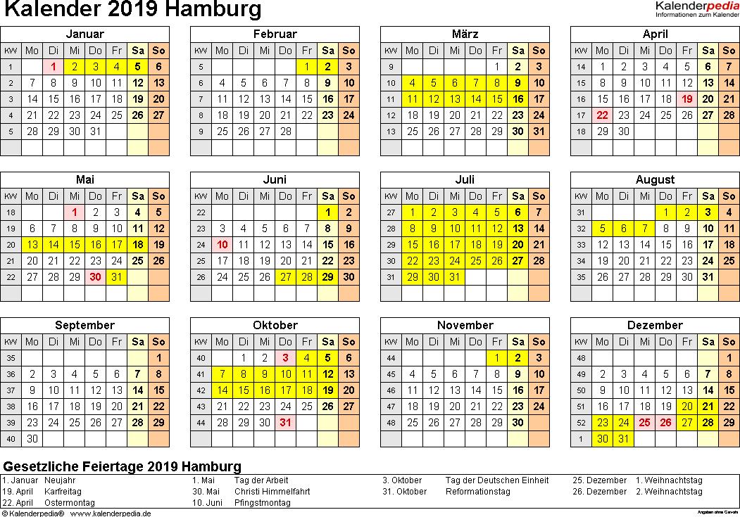 Vorlage 4: Kalender 2019 für Hamburg als Excel-Vorlagen (Querformat, 1 Seite, Jahresübersicht)