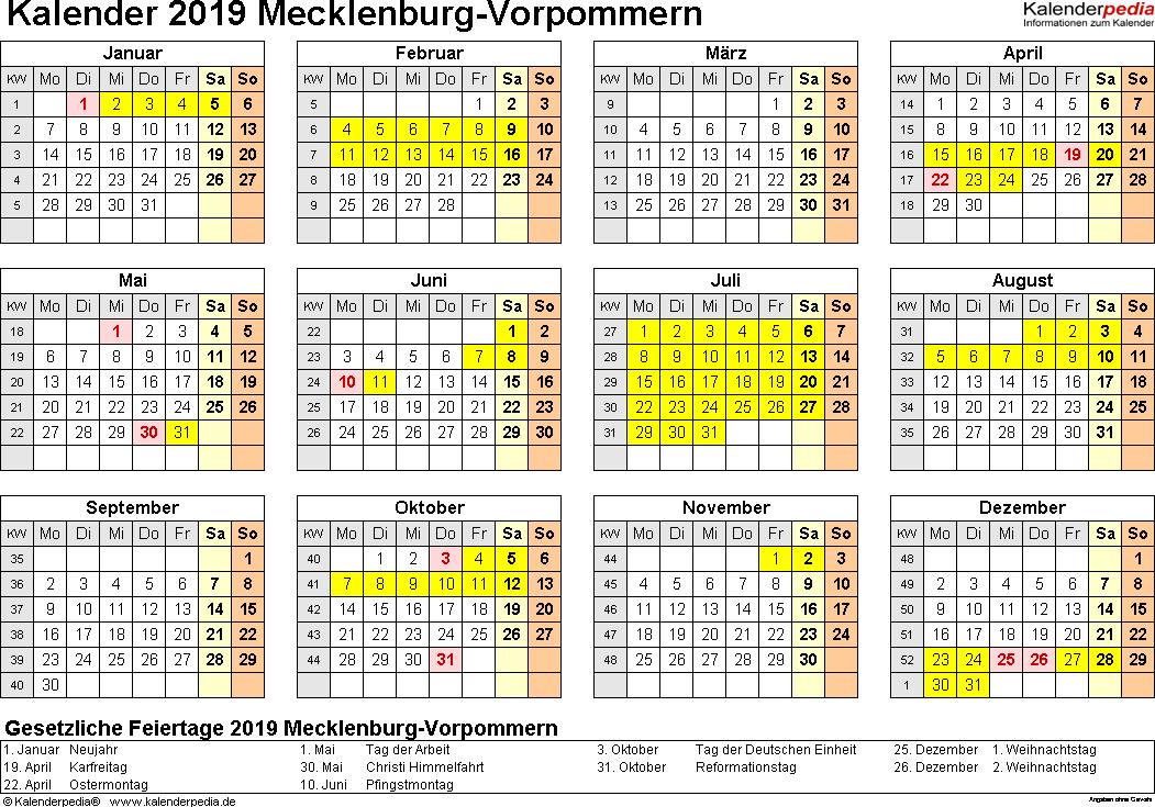 Vorlage 4: Kalender 2019 für Mecklenburg-Vorpommern als PDF-Vorlagen (Querformat, 1 Seite, Jahresübersicht)