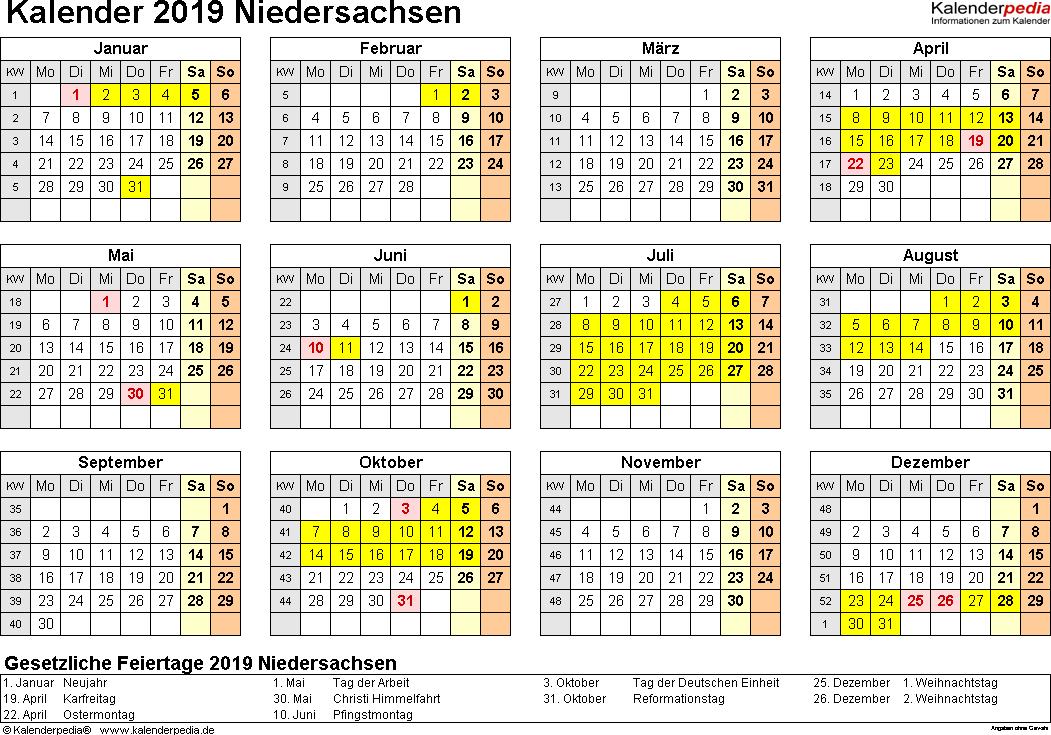 Vorlage 4: Kalender 2019 für Niedersachsen als Excel-Vorlagen (Querformat, 1 Seite, Jahresübersicht)