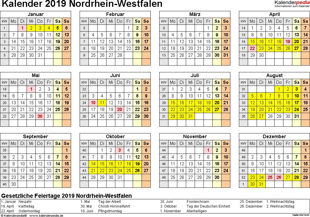 Vorlage 4: Kalender 2019 für Nordrhein-Westfalen (NRW) als Word-Vorlage (Querformat, 1 Seite, Jahresübersicht)