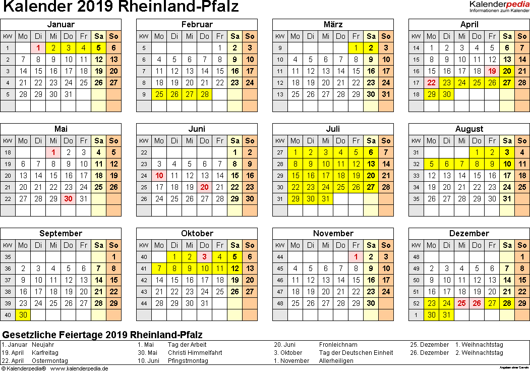 Vorlage 4: Kalender 2019 für Rheinland-Pfalz als PDF-Vorlage (Querformat, 1 Seite, Jahresübersicht)