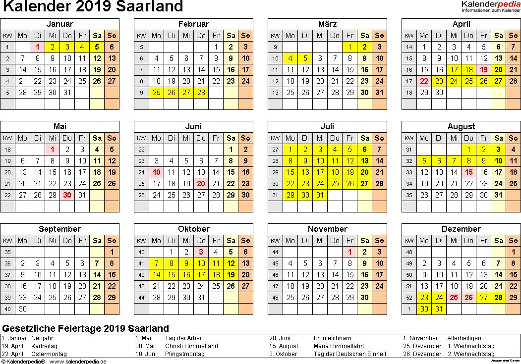 Vorlage 4: Kalender 2019 für Saarland als PDF-Vorlagen (Querformat, 1 Seite, Jahresübersicht)