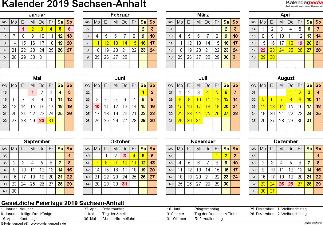Vorlage 4: Kalender 2019 für Sachsen-Anhalt als PDF-Vorlagen (Querformat, 1 Seite, Jahresübersicht)