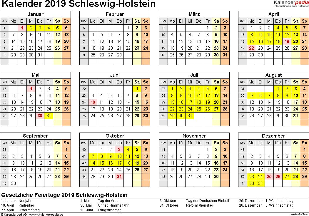 Vorlage 4: Kalender 2019 für Schleswig-Holstein als PDF-Vorlagen (Querformat, 1 Seite, Jahresübersicht)