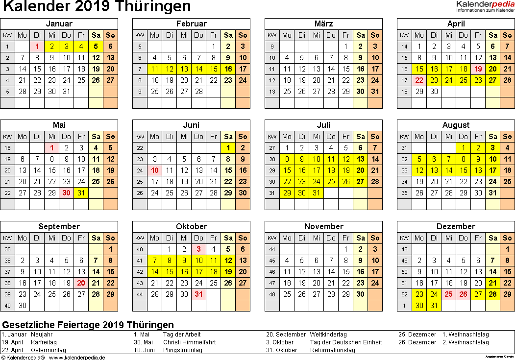 Vorlage 4: Kalender 2019 für Thüringen als Excel-Vorlage (Querformat, 1 Seite, Jahresübersicht)