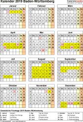 Vorlage 4: Kalender Baden-Württemberg 2019 als Excel-Vorlage (Hochformat)
