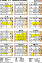 ferien baden württemberg 2019 kalender