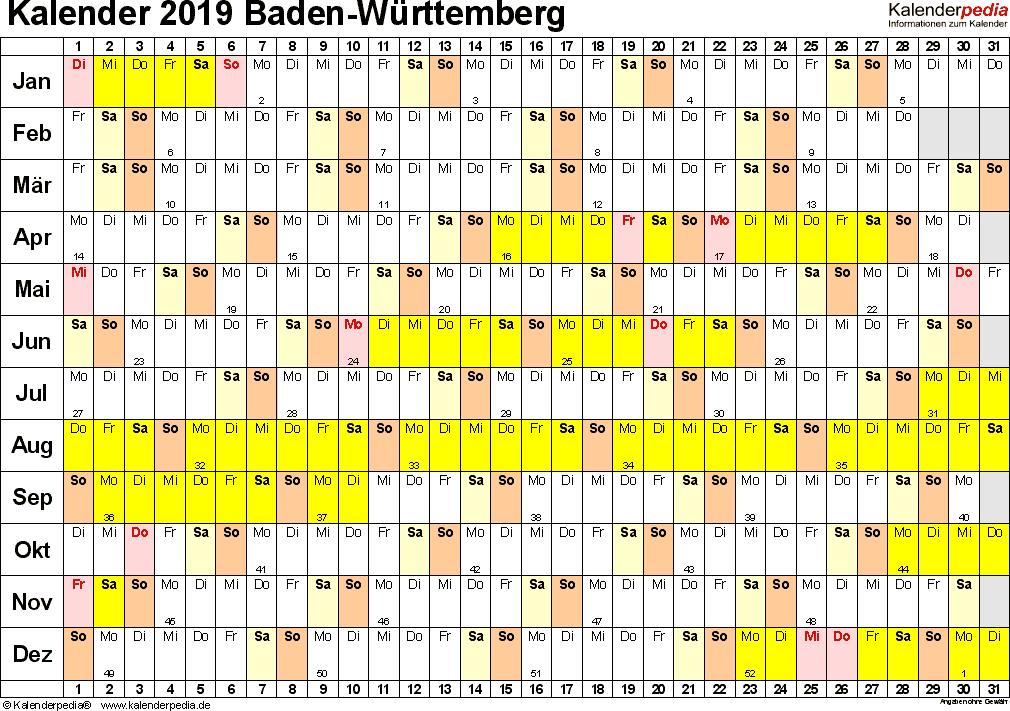 Vorlage 3: Kalender Baden-Württemberg 2019 im Querformat, Tage nebeneinander