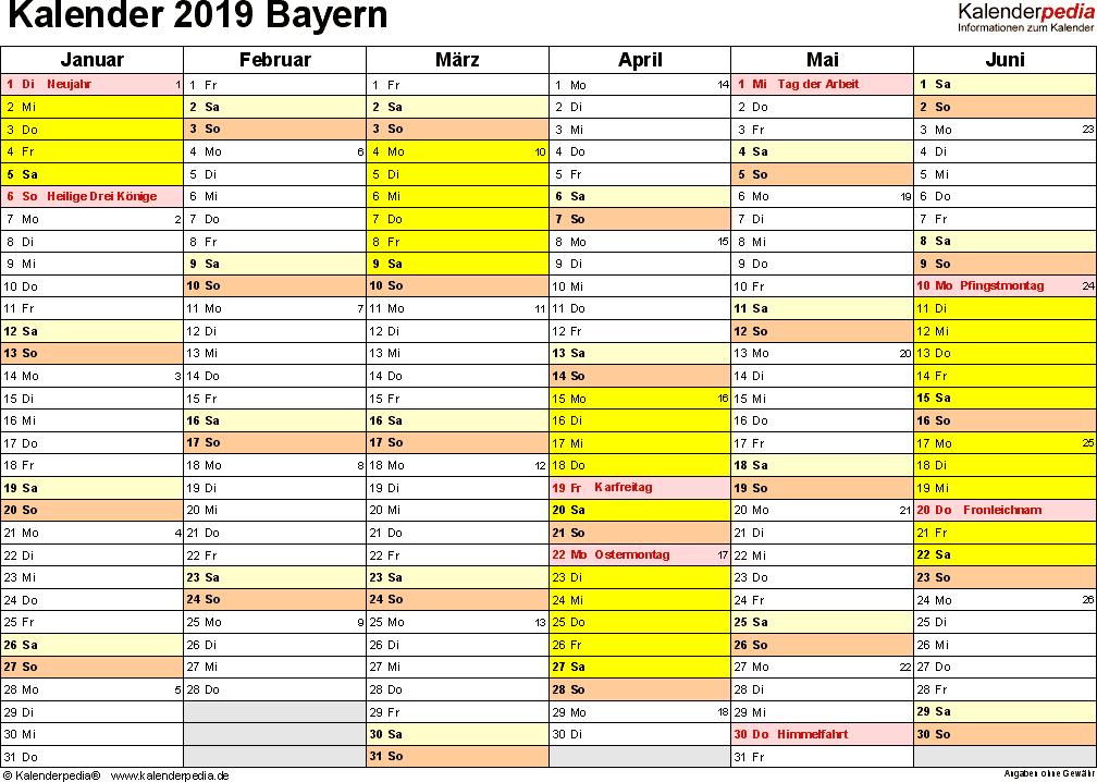 Vorlage 2: Kalender 2019 für Bayern als Word-Vorlage (Querformat, 2 Seiten)
