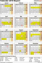 Vorlage 4: Kalender Bayern 2019 als Excel-Vorlage (Hochformat)