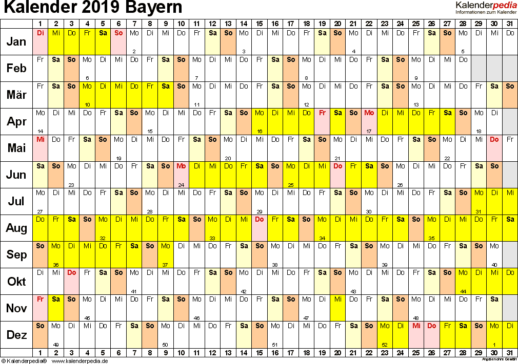 Vorlage 3: Kalender Bayern 2019 im Querformat, Tage nebeneinander