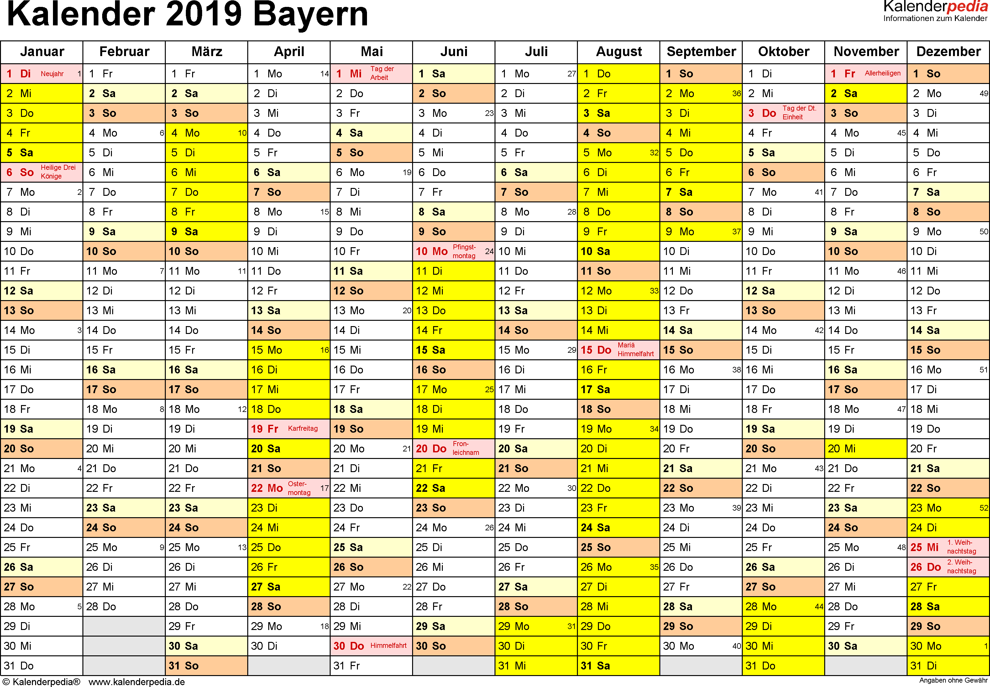 Vorlage 1: Kalender 2019 für Bayern als PDF-Vorlagen (Querformat, 1 Seite)