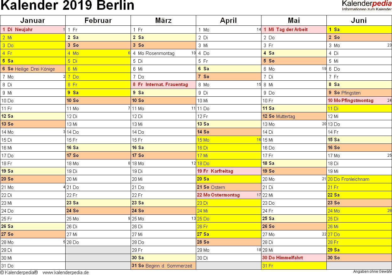 Vorlage 3: Kalender 2019 für Berlin als Excel-Vorlagen (Querformat, 2 Seiten)