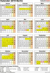 Vorlage 8: Kalender Berlin 2019 als Excel-Vorlage (Hochformat)