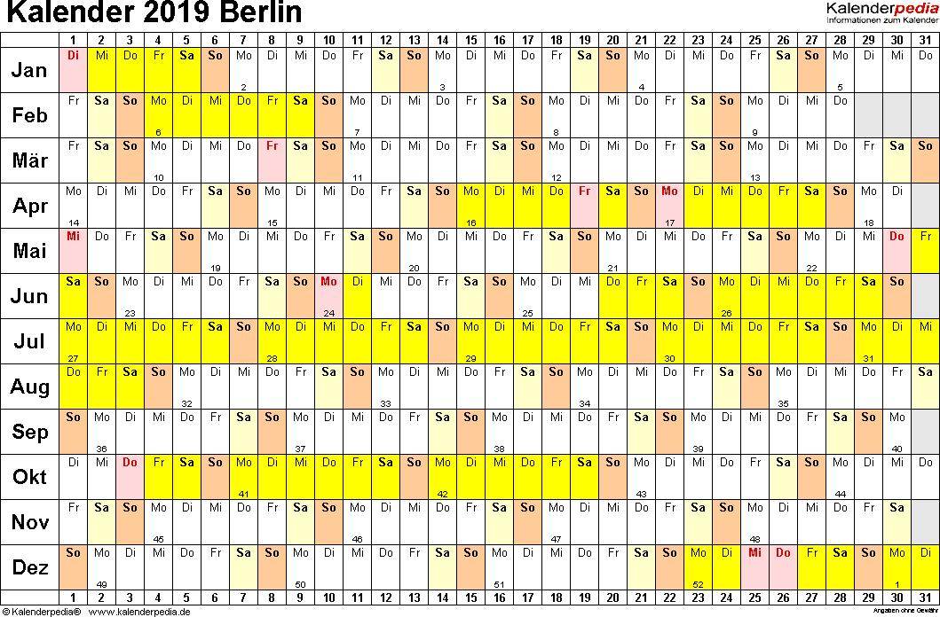 Vorlage 3: Kalender Berlin 2019 im Querformat, Tage nebeneinander