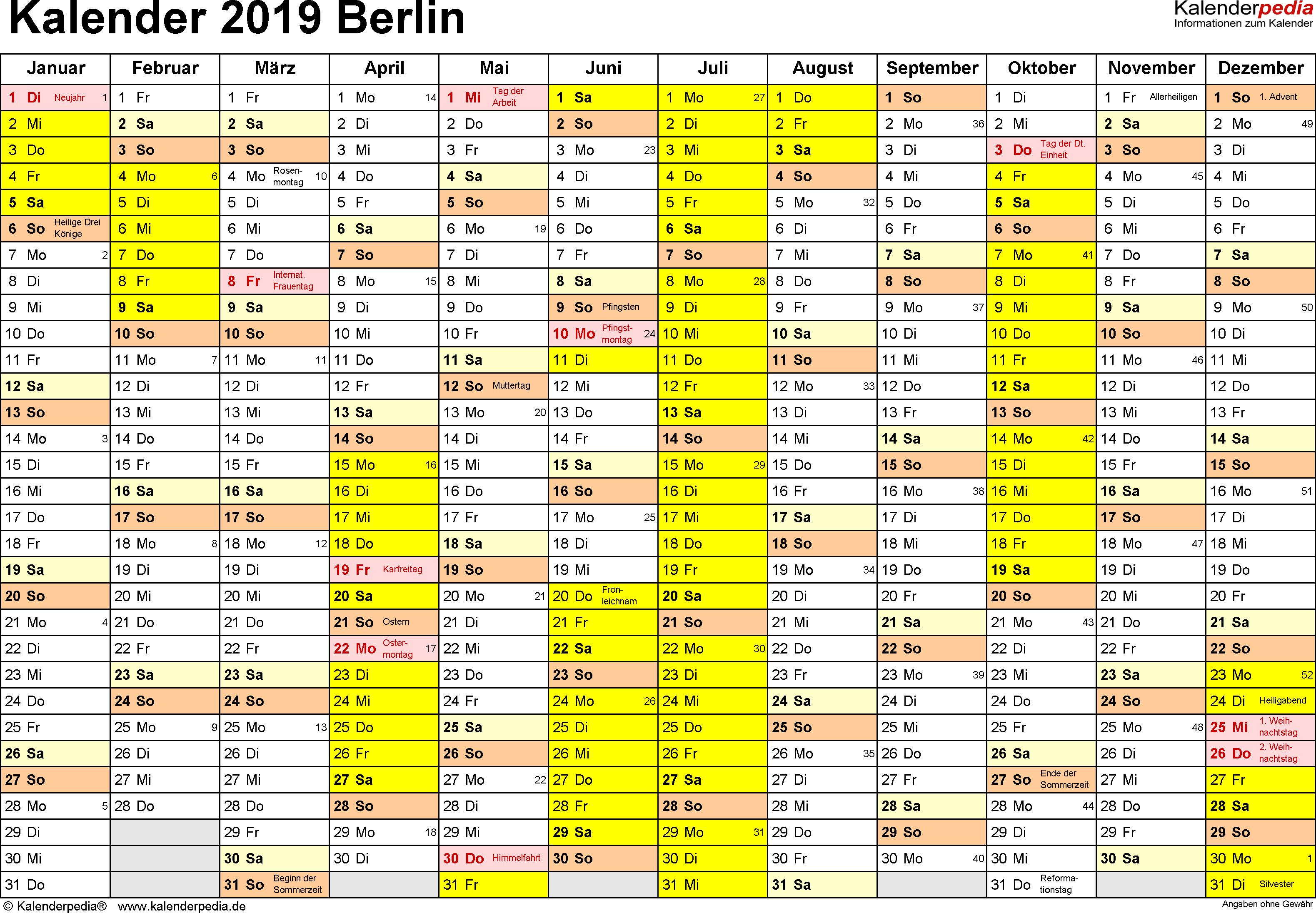 Vorlage 1: Kalender 2019 für Berlin als PDF-Vorlagen (Querformat, 1 Seite)