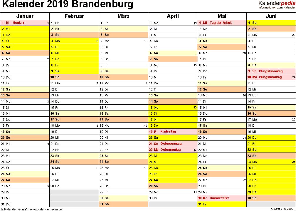 Vorlage 2: Kalender 2019 für Brandenburg als Excel-Vorlagen (Querformat, 2 Seiten)