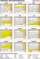 Vorlage 8: Kalender Brandenburg 2019 als Excel-Vorlage (Hochformat)