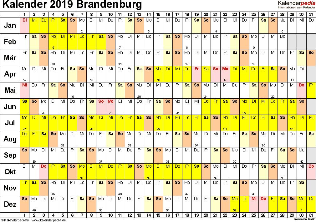 Vorlage 2: Kalender Brandenburg 2019 im Querformat, Tage nebeneinander