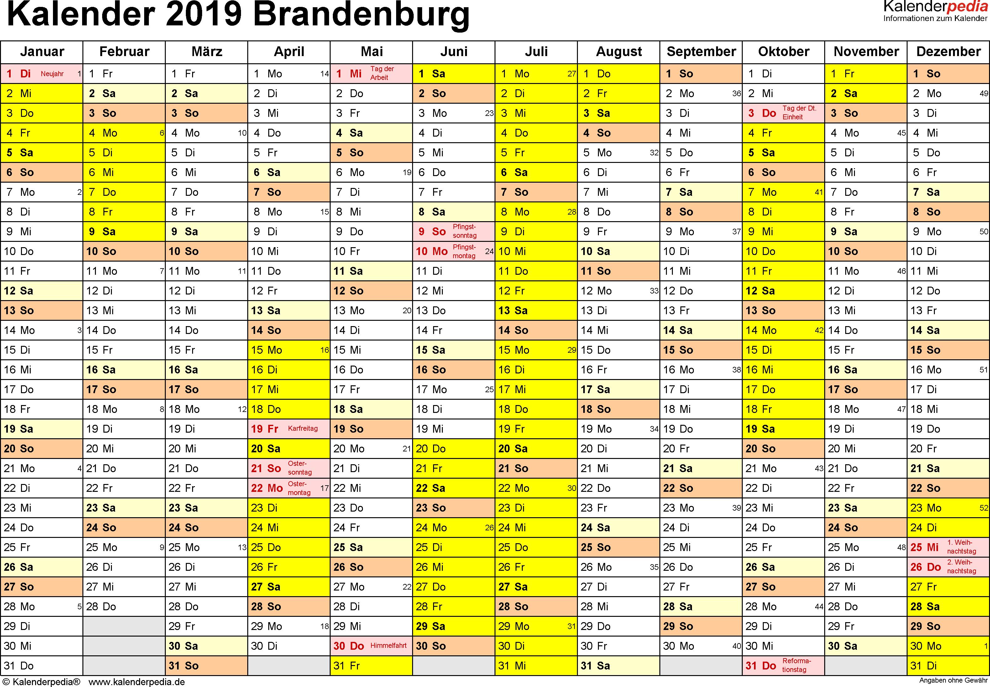 Vorlage 1: Kalender 2019 für Brandenburg als Excel-Vorlagen (Querformat, 1 Seite)