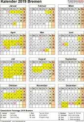 Vorlage 4: Kalender Bremen 2019 als Excel-Vorlage (Hochformat)