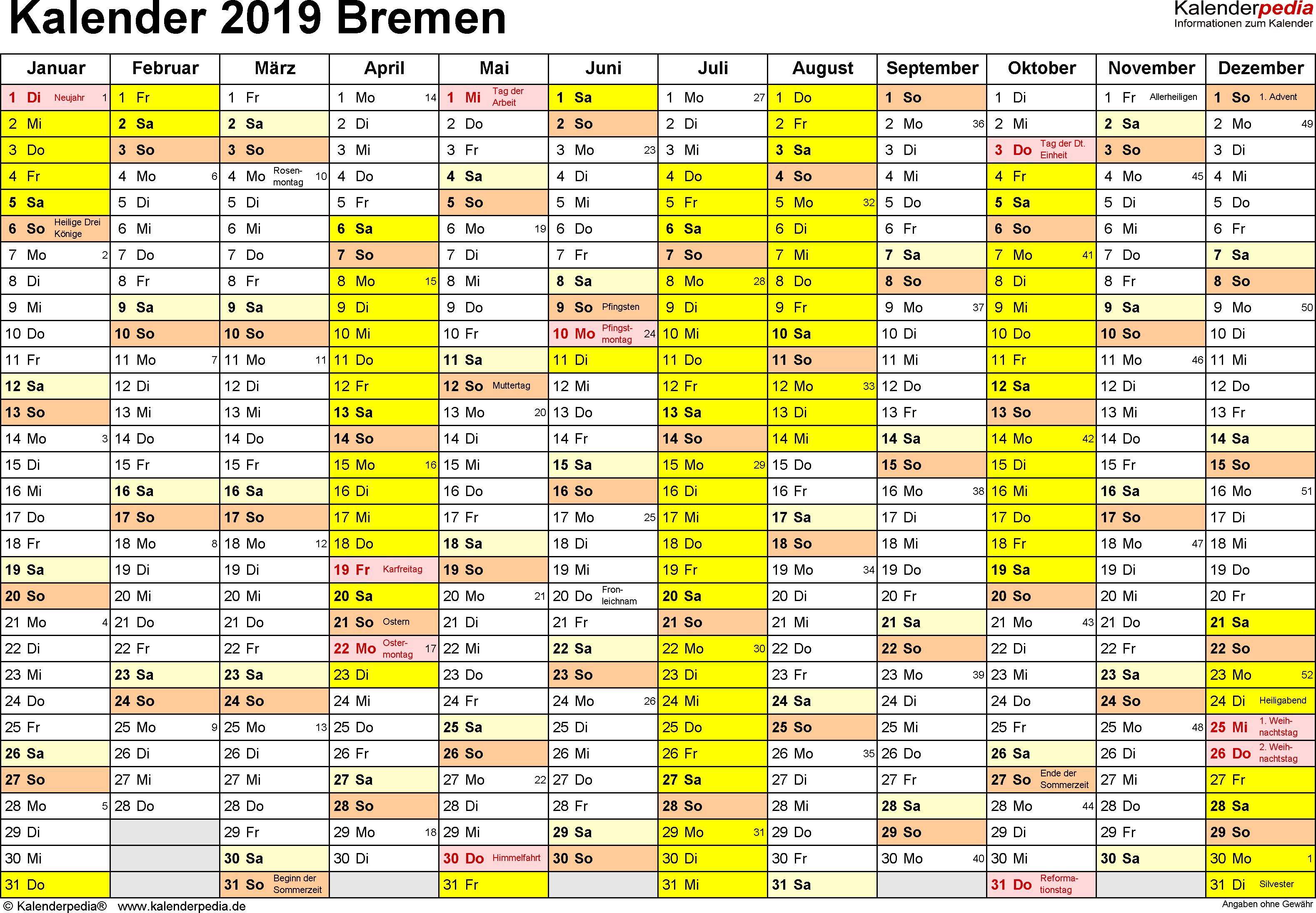 Vorlage 1: Kalender 2019 für Bremen als Excel-Vorlagen (Querformat, 1 Seite)