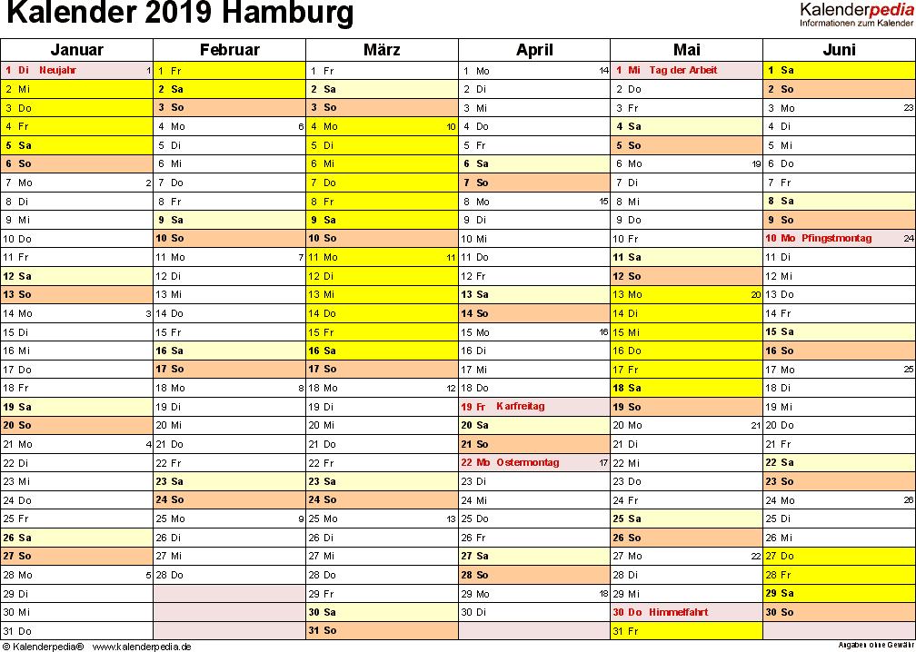 Vorlage 3: Kalender 2019 für Hamburg als Excel-Vorlagen (Querformat, 2 Seiten)