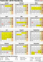 Vorlage 4: Kalender Hamburg 2019 als Excel-Vorlage (Hochformat)